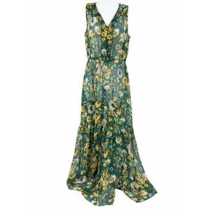 Eci Sheer Floral V Neck Maxi Dress M